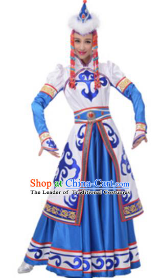 Traditional Chinese Mongolian Nationality Princess Blue Dress, China Mongols Minority Ethnic Dance Costume and Headwear for Women