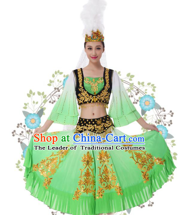 Traditional Chinese Uyghur Nationality Princess Green Dress, China Uigurian Minority Ethnic Dance Costume and Headwear for Women