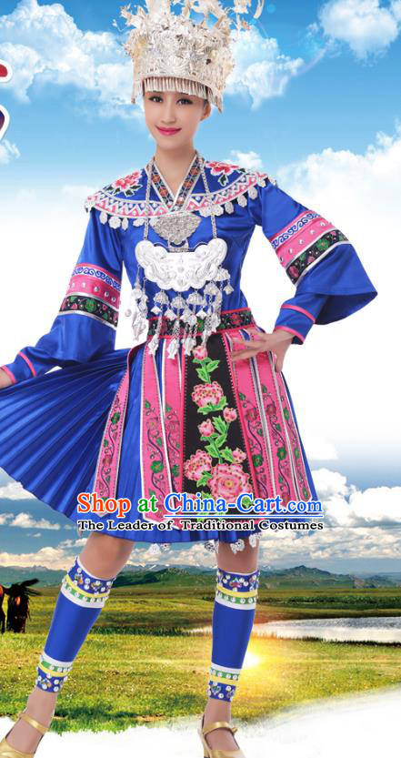 Traditional Chinese Miao Nationality Princess Blue Dress, China Hmong Minority Ethnic Dance Costume and Headwear for Women
