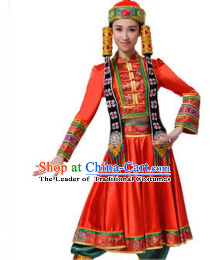 Chinese Traditional Mongol Nationality Red Clothing, China Mongolian Minority Ethnic Dance Costume and Headpiece for Women