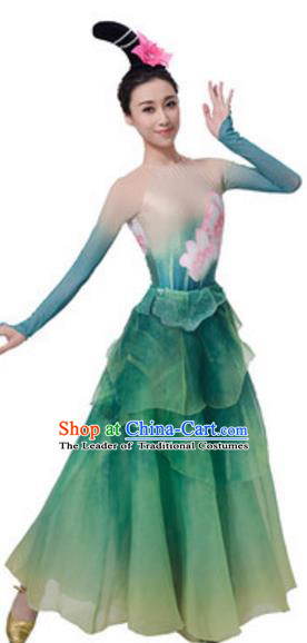 Top Grade Chinese Classical Dance Green Dress Stage Performance Lotus Dance Costume for Women