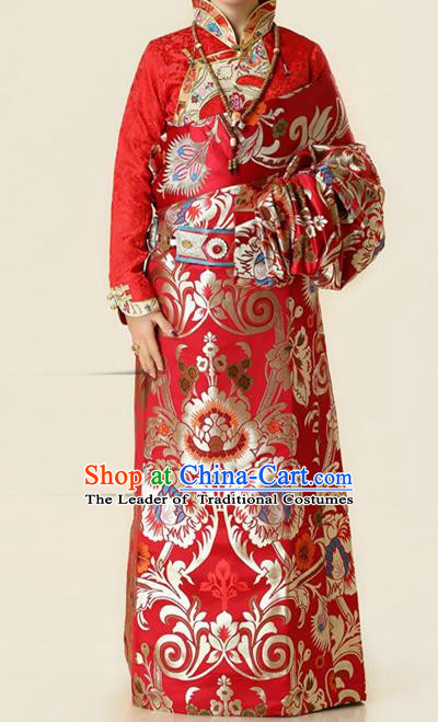 Chinese Traditional Zang Nationality Red Brocade Costume, China Tibetan Heishui Dance Clothing for Women