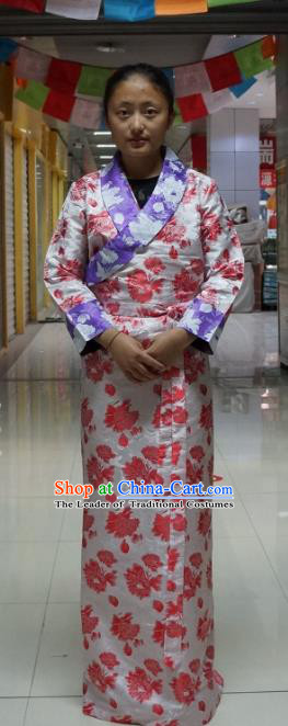 Chinese Traditional Zang Nationality Pink Brocade Dress, China Tibetan Heishui Dance Costume for Women