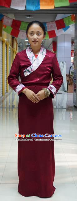 Chinese Traditional Zang Nationality Wine Red Dress, China Tibetan Heishui Dance Costume for Women