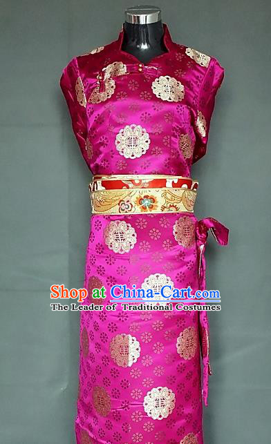 Chinese Traditional Zang Nationality Rosy Dress, China Tibetan Heishui Dance Brocade Costume for Women