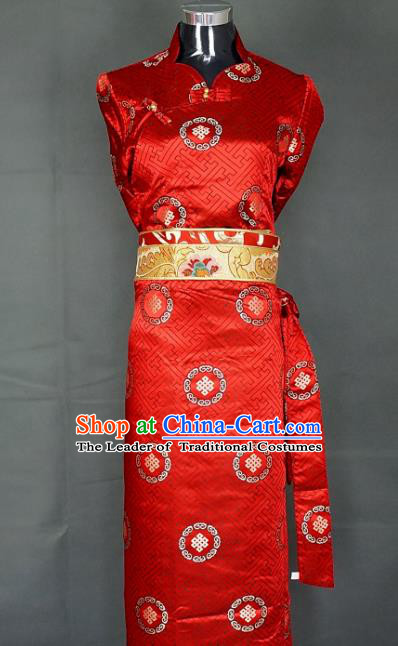 Chinese Traditional Zang Nationality Red Dress, China Tibetan Heishui Dance Brocade Costume for Women