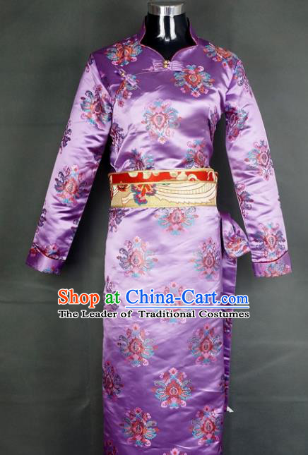Chinese Traditional Zang Nationality Dress, China Tibetan Heishui Dance Purple Brocade Costume for Women