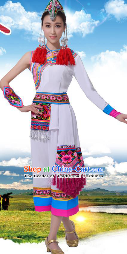 Chinese Traditional She Nationality Dance Clothing, China She Minority Folk Dance Costume and Headpiece for Women