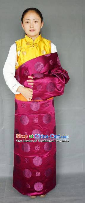 Chinese Traditional Zang Nationality Clothing Wine Red Tibetan Robe, China Tibetan Ethnic Heishui Dance Costume for Women