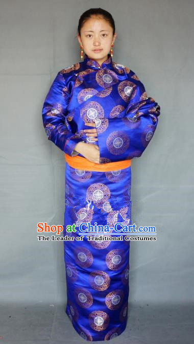Chinese Traditional Zang Nationality Clothing Royalblue Tibetan Robe, China Tibetan Ethnic Heishui Dance Costume for Women