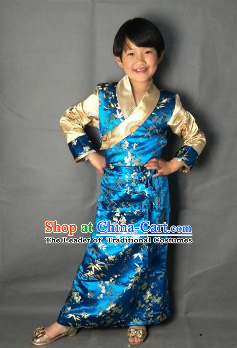 Chinese Traditional Zang Nationality Costume Blue Brocade Dress, China Tibetan Ethnic Clothing for Kids