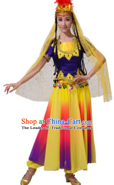Chinese Traditional Uigurian Nationality Dance Clothing, China Uyghur Minority Folk Dance Costume and Headpiece for Women