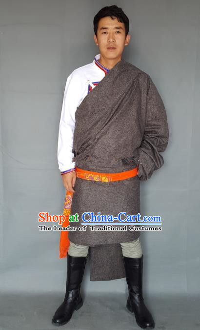 Chinese Traditional Zang Nationality Costume Grey Tibetan Robe, China Tibetan Ethnic Clothing for Men