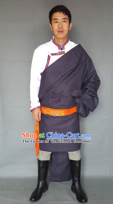 Chinese Traditional Zang Nationality Costume Purple Tibetan Robe, China Tibetan Ethnic Clothing for Men