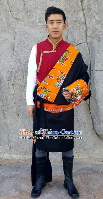 Chinese Traditional Zang Nationality Costume, China Tibetan Ethnic Black Brocade Robe for Men