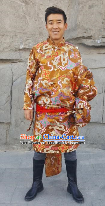 Chinese Traditional Zang Nationality Costume, China Tibetan Ethnic Golden Dragons Brocade Robe for Men