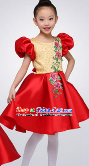 Top Grade Modern Dance Red Bubble Dress Stage Performance Chorus Costume for Kids