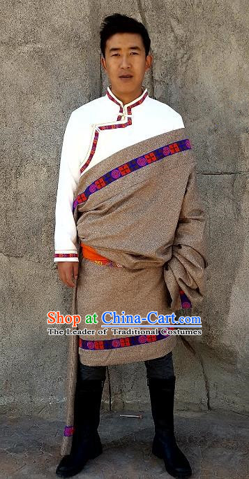 Chinese Traditional Zang Nationality Costume, China Tibetan Ethnic Grey Robe for Men
