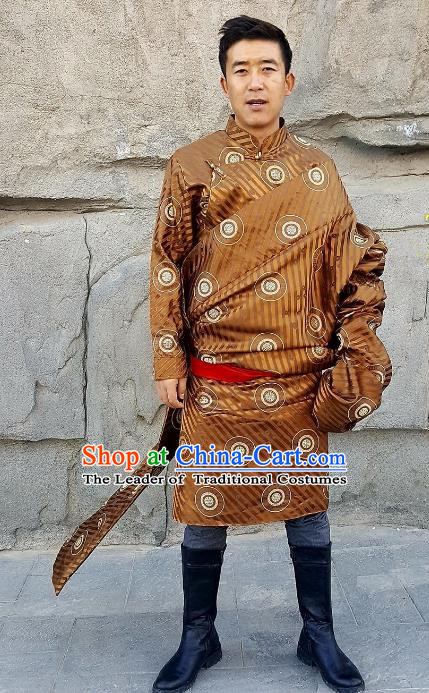 Chinese Traditional Zang Nationality Costume, China Tibetan Ethnic Golden Brocade Robe for Men