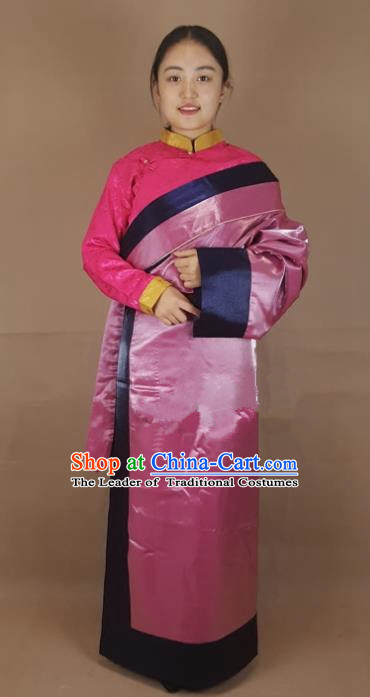 Chinese Traditional Zang Nationality Clothing Pink Silk Tibetan Robe, China Tibetan Ethnic Heishui Dance Costume for Women