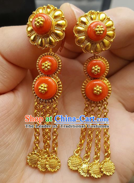 Traditional Chinese Zang Nationality Accessories Earrings, China Tibetan Golden Tassel Eardrop for Women