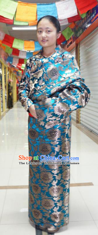 Chinese Traditional Zang Nationality Blue Dress Clothing, China Tibetan Ethnic Heishui Dance Costume for Women
