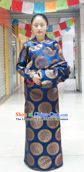 Chinese Traditional Zang Nationality Navy Dress Clothing, China Tibetan Ethnic Heishui Dance Costume for Women