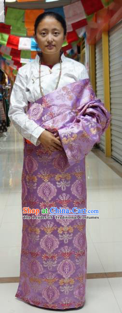 Chinese Traditional Zang Nationality Lilac Tibetan Robe, China Tibetan Ethnic Heishui Dance Costume for Women