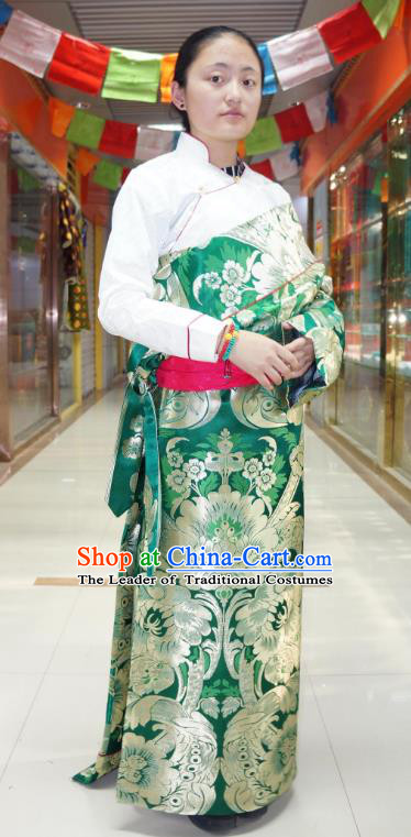 Chinese Traditional Zang Nationality Green Brocade Tibetan Robe, China Tibetan Ethnic Heishui Dance Costume for Women