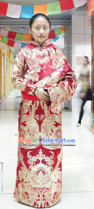 Chinese Traditional Zang Nationality Red Brocade Tibetan Robe, China Tibetan Ethnic Heishui Dance Costume for Women