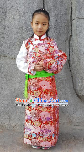 Chinese Traditional Zang Nationality Children Costume, China Tibetan Ethnic Red Brocade Dress for Kids