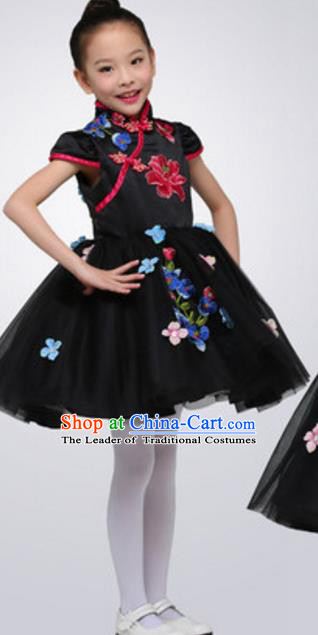 Top Grade Modern Dance Ballet Dance Black Veil Dress Stage Performance Chorus Costume for Kids