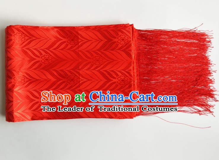 Traditional Chinese Zang Nationality Red Brocade Belts, China Tibetan Robe Waistband