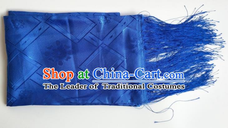 Traditional Chinese Zang Nationality Royalblue Brocade Belts, China Tibetan Robe Waistband
