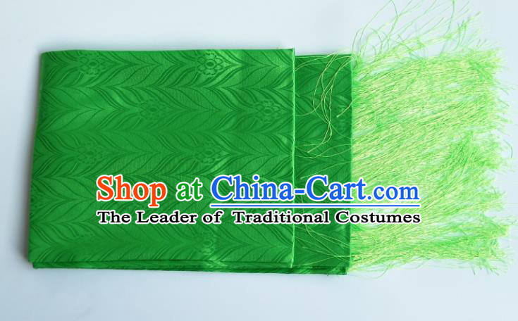 Traditional Chinese Zang Nationality Green Brocade Belts, China Tibetan Robe Waistband