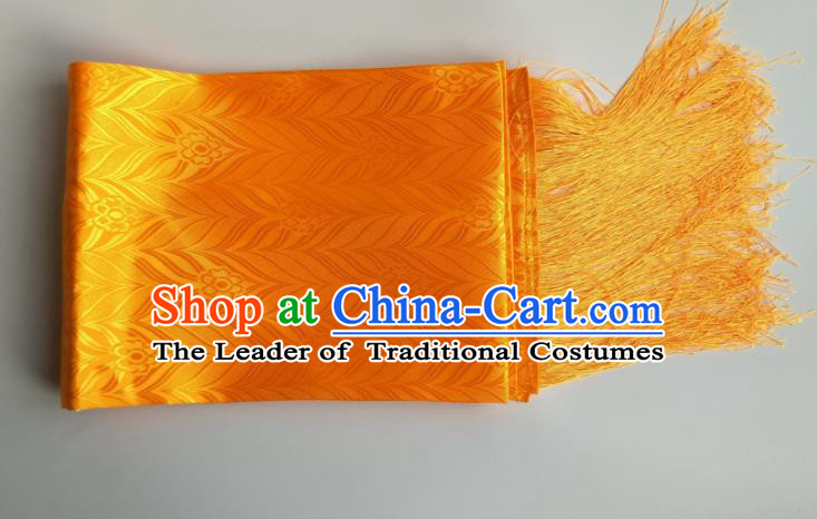 Traditional Chinese Zang Nationality Yellow Brocade Belts, China Tibetan Robe Waistband
