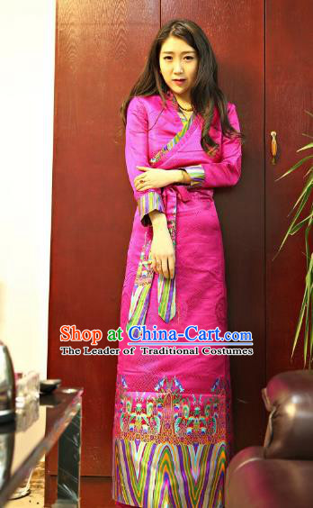 Chinese Traditional Zang Nationality Pink Brocade Dress, China Tibetan Dance Costume for Women