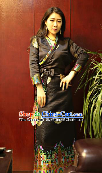 Chinese Traditional Zang Nationality Black Brocade Dress, China Tibetan Dance Costume for Women