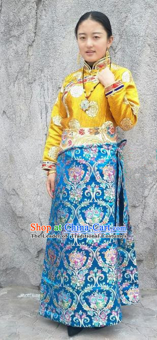 Chinese Traditional Zang Nationality Blue Brocade Bust Skirt, China Tibetan Heishui Dance Costume for Women