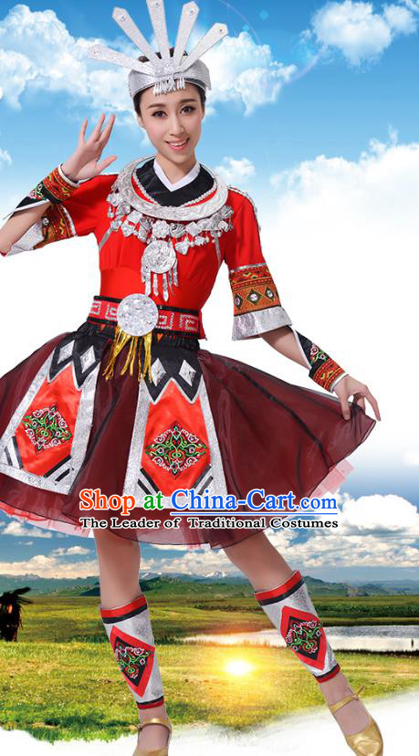 Chinese Traditional Miao Nationality Red Dress, China Hmong Minority Ethnic Dance Costume and Headpiece for Women