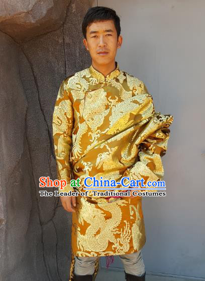 Chinese Traditional Zang Nationality Wedding Costume, China Tibetan Ethnic Embroidered Dragon Golden Tibetan Robe for Men