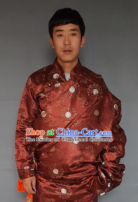 Chinese Traditional Zang Nationality Costume Purplish Red Tibetan Robe, China Tibetan Ethnic Embroidered Clothing for Men