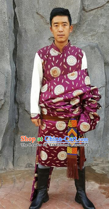 Chinese Traditional Zang Nationality Costume Purple Brocade Tibetan Robe, China Tibetan Ethnic Clothing for Men