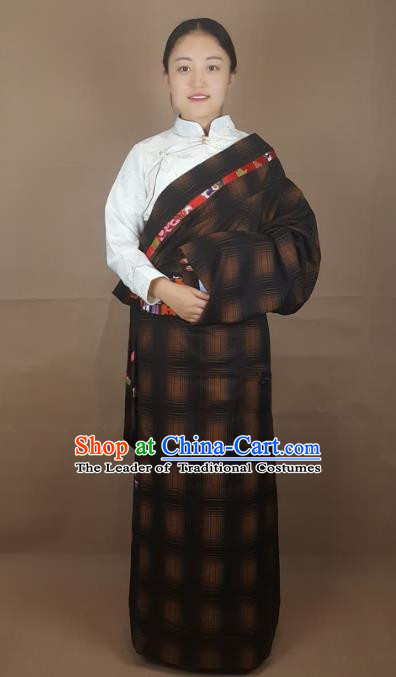 Chinese Traditional Zang Nationality Costume, China Tibetan Heishui Dance Clothing for Women