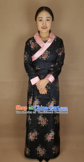 Chinese Traditional Zang Nationality Costume Black Brocade Dress, China Tibetan Heishui Dance Clothing for Women