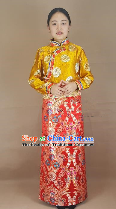 Chinese Traditional Zang Nationality Costume Red Brocade Bust Skirt, China Tibetan Heishui Dance Clothing for Women