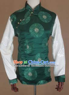 Chinese Traditional Zang Nationality Green Brocade Vest, China Tibetan Waistcoat Costume for Women