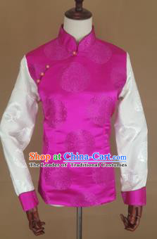 Chinese Traditional Zang Nationality Rosy Brocade Vest, China Tibetan Waistcoat Costume for Women