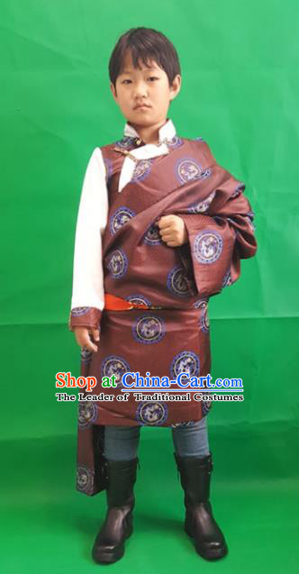 Chinese Traditional Zang Nationality Children Costume, China Tibetan Ethnic Clothing Brown Tibetan Robe for Kids