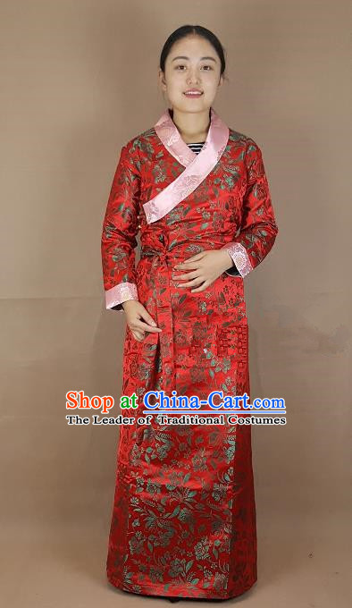 Chinese Traditional Zang Nationality Heishui Dance Costume, China Tibetan Red Brocade Dress for Women
